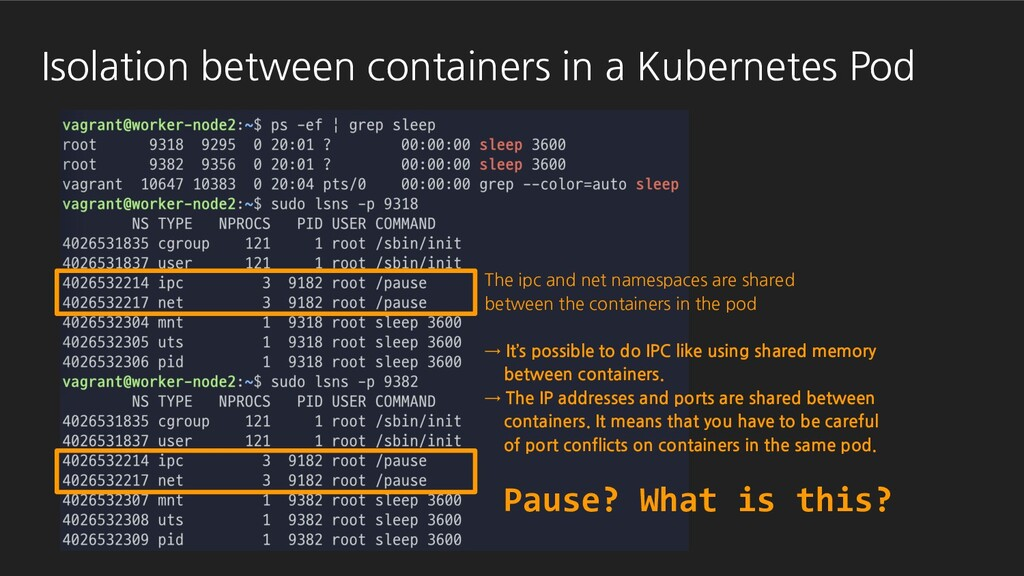 Pause? What is this? The ipc and net namespaces...