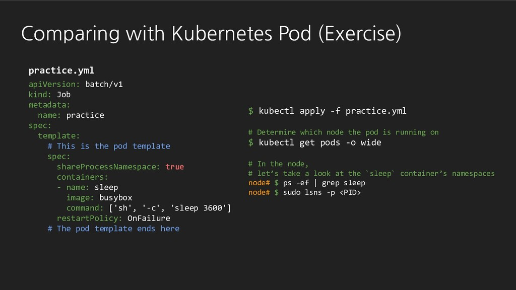 Comparing with Kubernetes Pod (Exercise) apiVer...