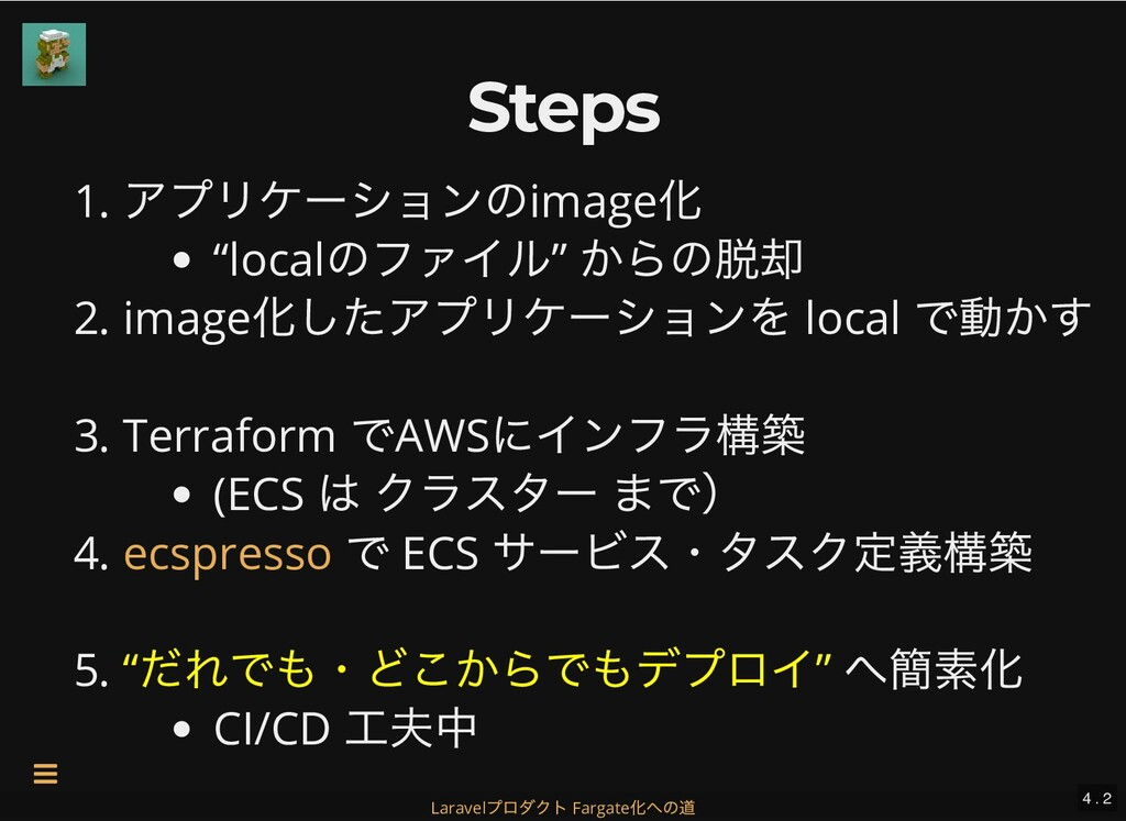 "Steps Steps 1. アプリケーションのimage 化 ""local のファイル"" か..."