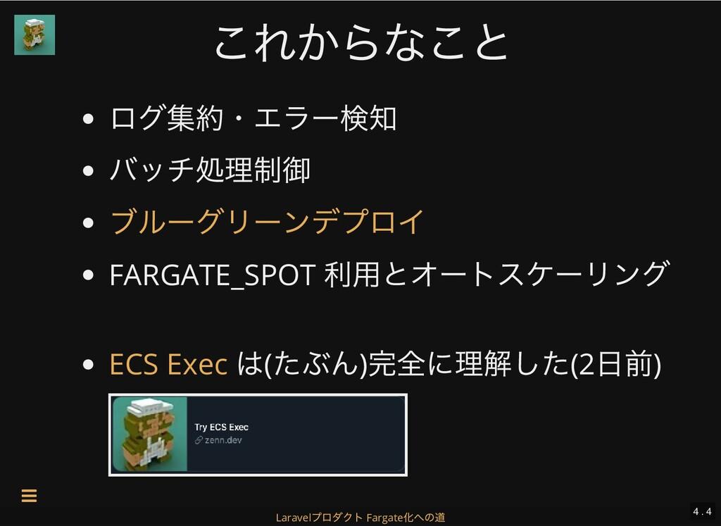 これからなこと これからなこと ログ集約・エラー検知 バッチ処理制御 FARGATE_SPOT...