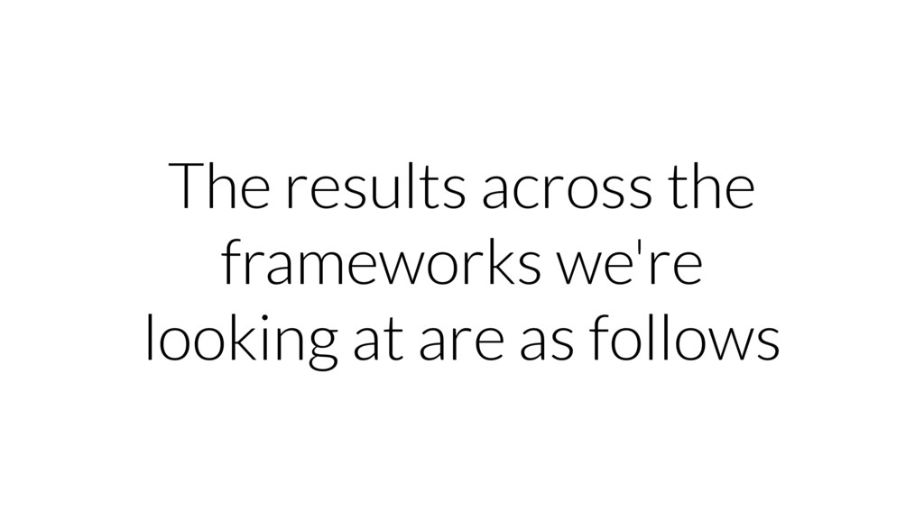 The results across the frameworks we're looking...