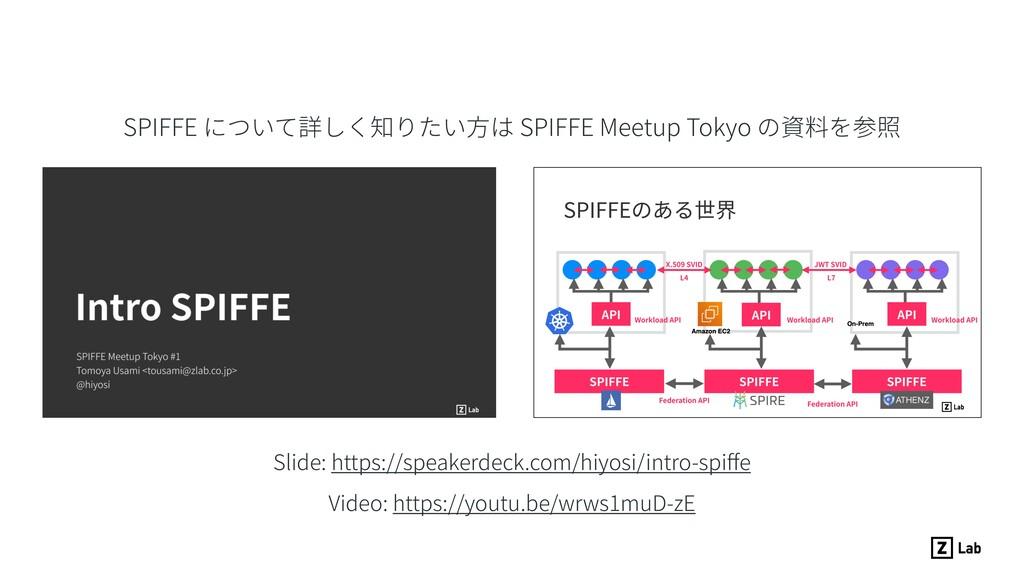SPIFFE について詳しく知りたい⽅は SPIFFE Meetup Tokyo の資料を参照...