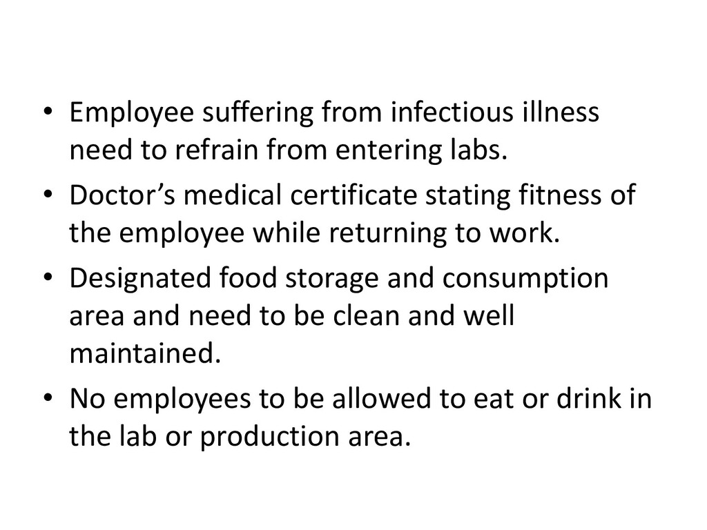 • Employee suffering from infectious illness ne...