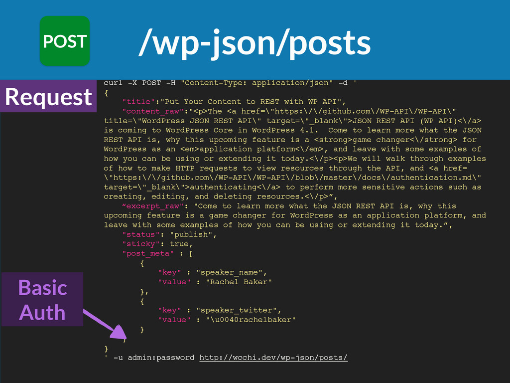 """/wp-json/posts POST curl -X POST -H """"Content-Ty..."""