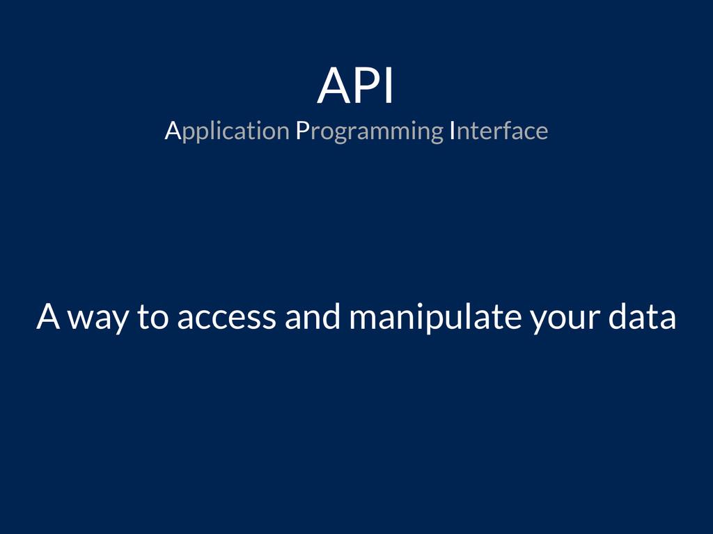 API Application Programming Interface A way to ...