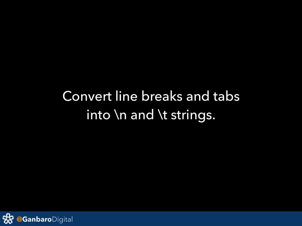@GanbaroDigital Convert line breaks and tabs in...