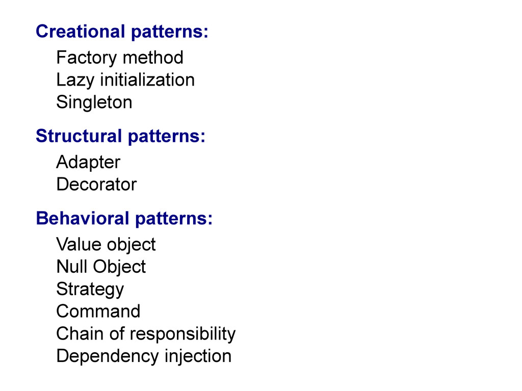 Creational patterns: Factory method Lazy initia...