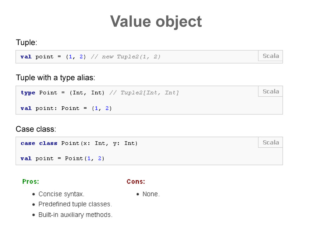Value object Tuple: Tuple with a type alias: Ca...