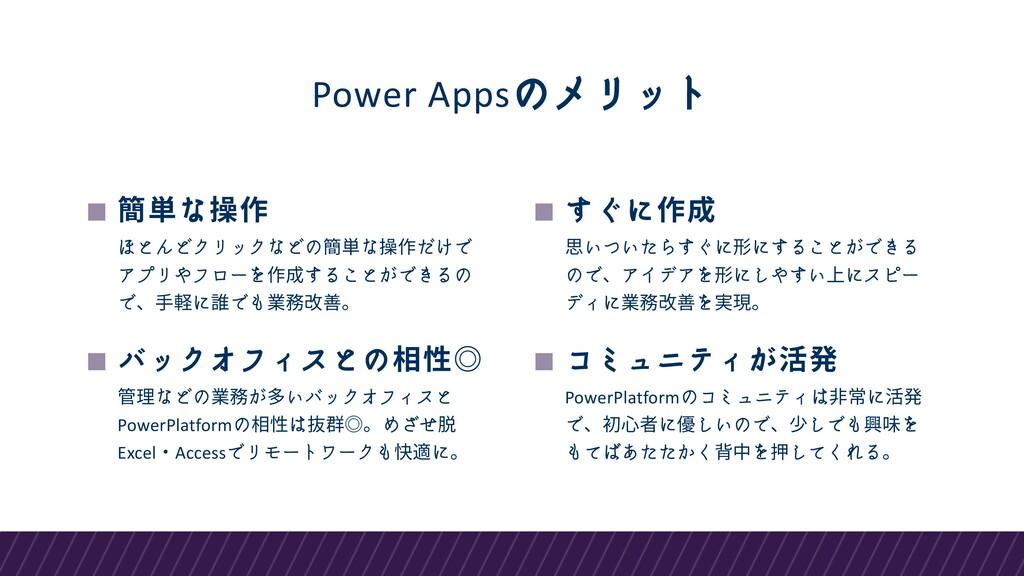 Power Appsのメリット 簡単な操作 ほとんどクリックなどの簡単な操作だけで アプリやフ...