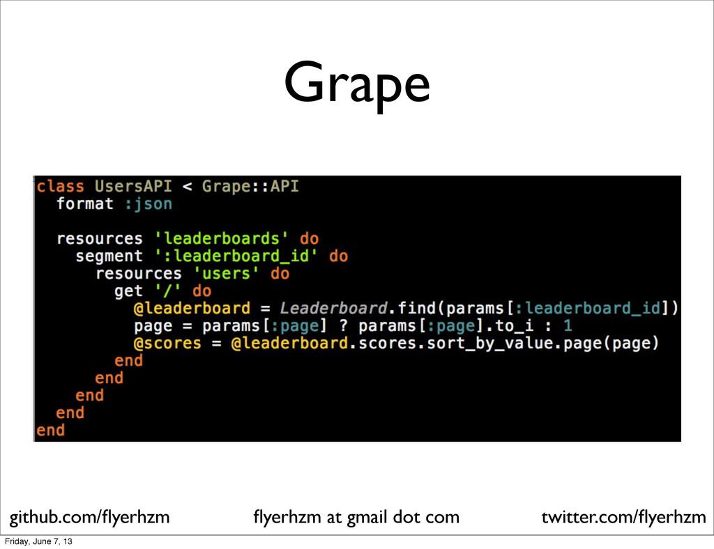 Grape flyerhzm at gmail dot com github.com/flyerh...