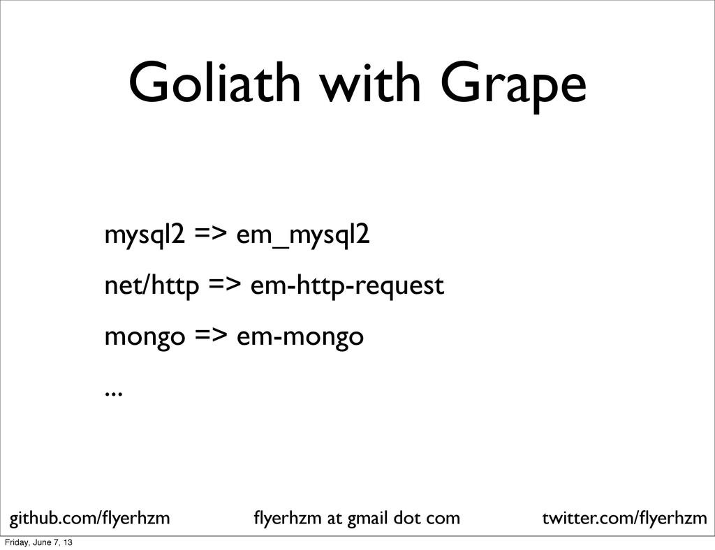 Goliath with Grape mysql2 => em_mysql2 net/http...