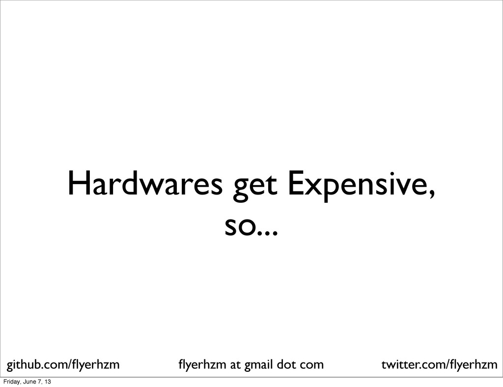 Hardwares get Expensive, so... flyerhzm at gmail...