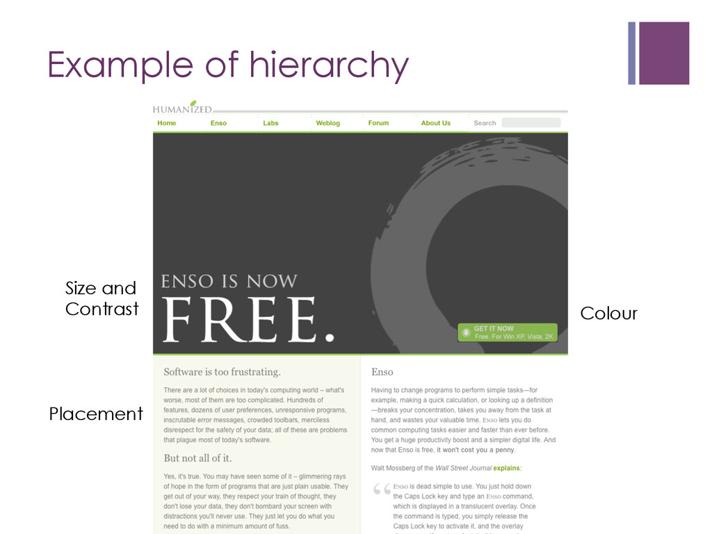 Example of hierarchy Size and Contrast Colour P...