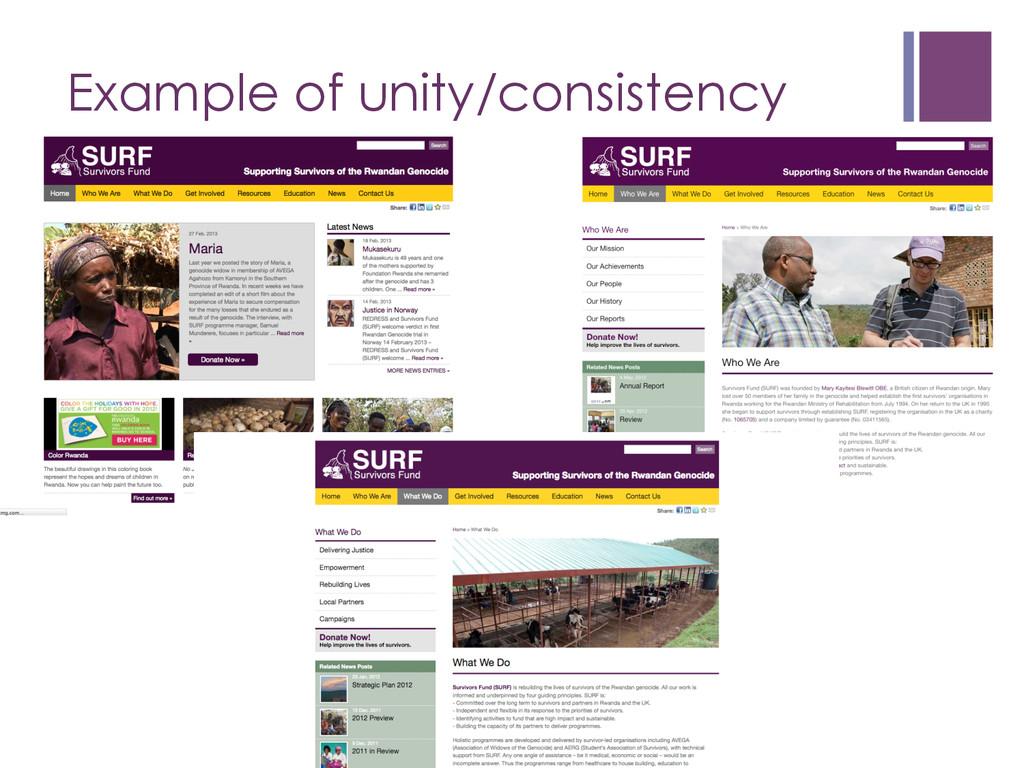 Example of unity/consistency