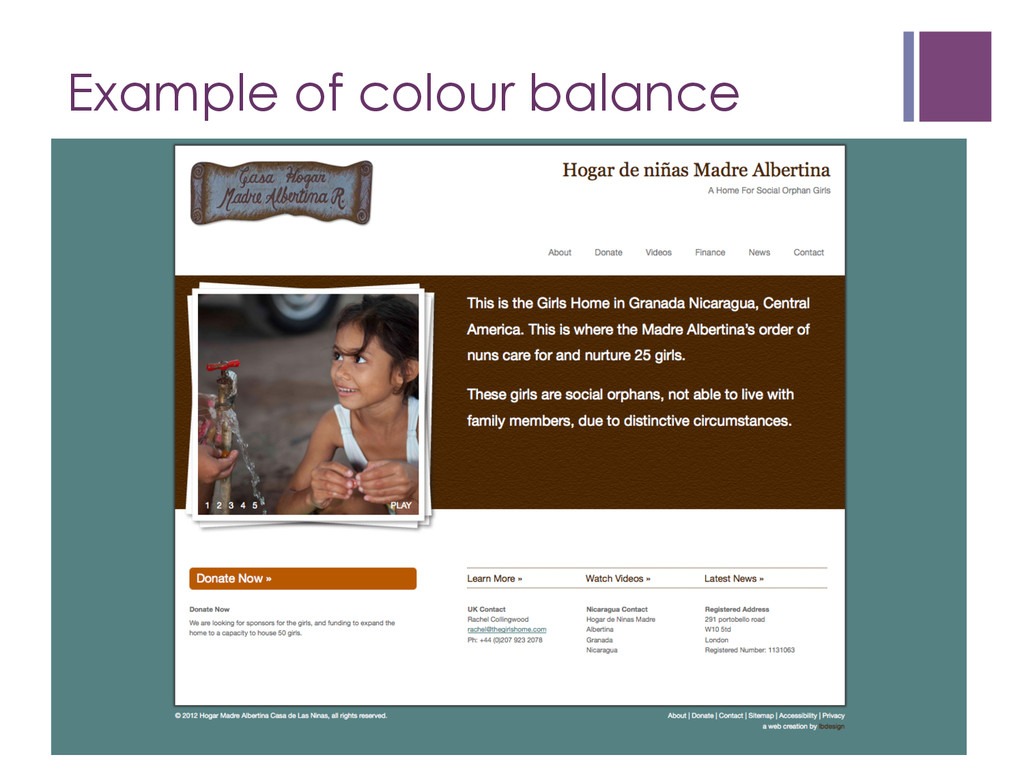 Example of colour balance