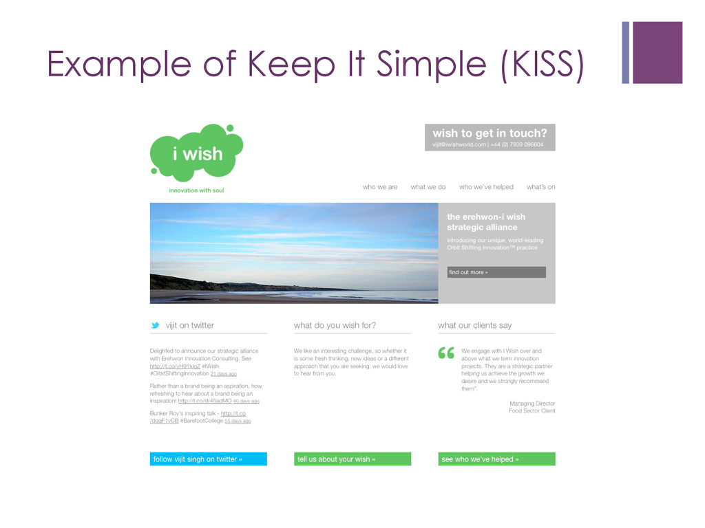 Example of Keep It Simple (KISS)