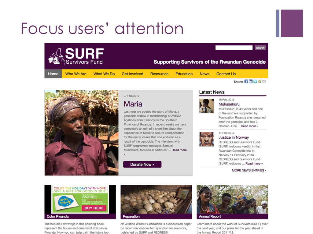 Focus users' attention nStrive for feature ex...