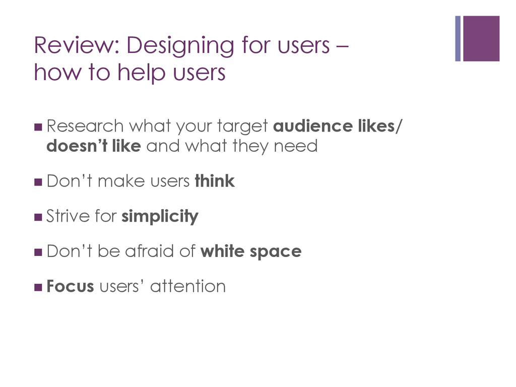 Review: Designing for users – how to help users...