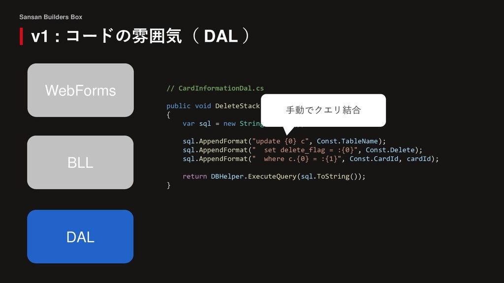 Sansan Builders Box v1 : コードの雰囲気( DAL ) BLL DAL...