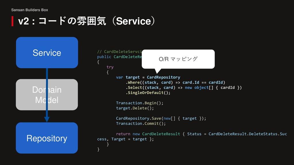Sansan Builders Box v2 : コードの雰囲気(Service) Domai...
