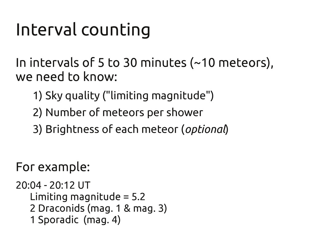 Interval counting In intervals of 5 to 30 minut...