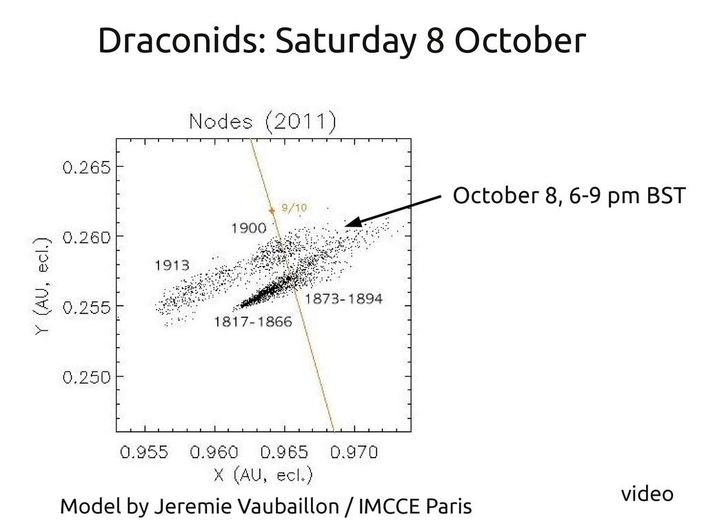 October 8, 6-9 pm BST Draconids: Saturday 8 Oct...