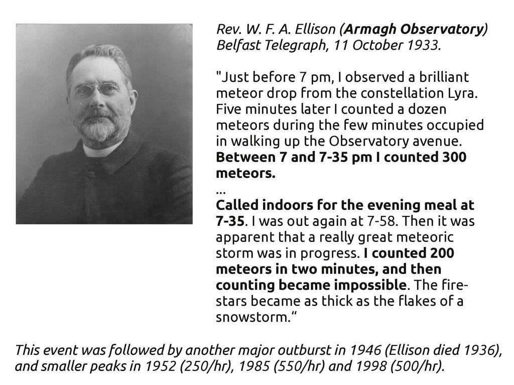 Rev. W. F. A. Ellison (Armagh Observatory) Belf...