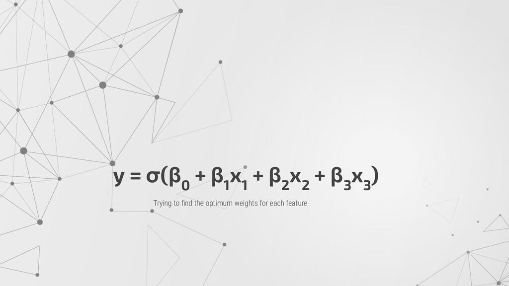 y = σ(β 0 + β 1 x 1 + β 2 x 2 + β 3 x 3 ) Tryin...