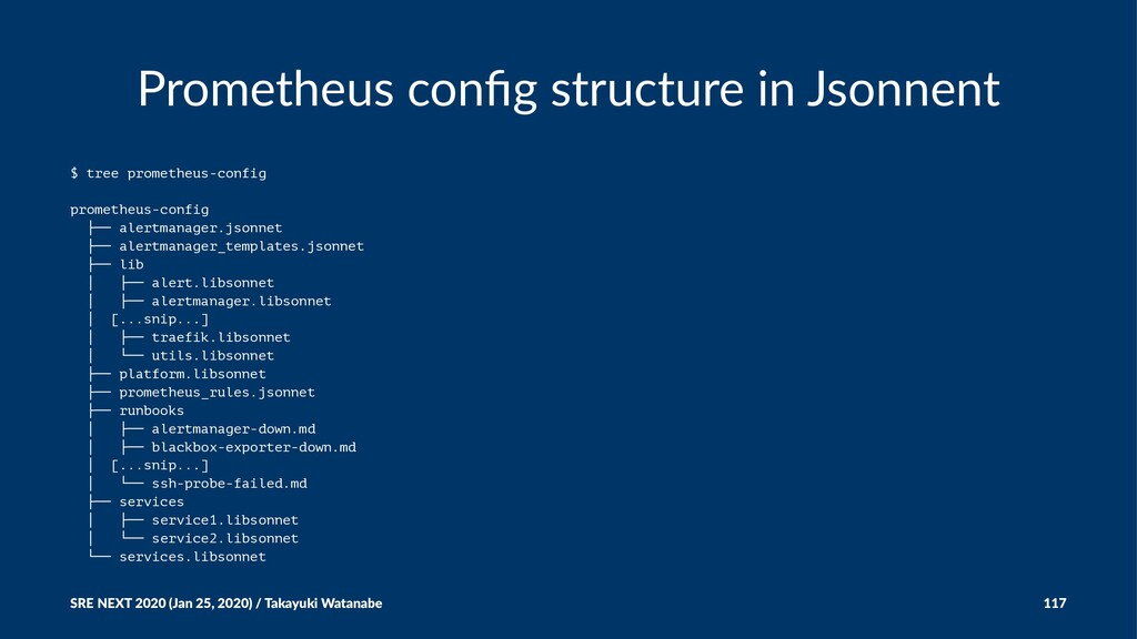 Prometheus config structure in Jsonnent $ tree p...