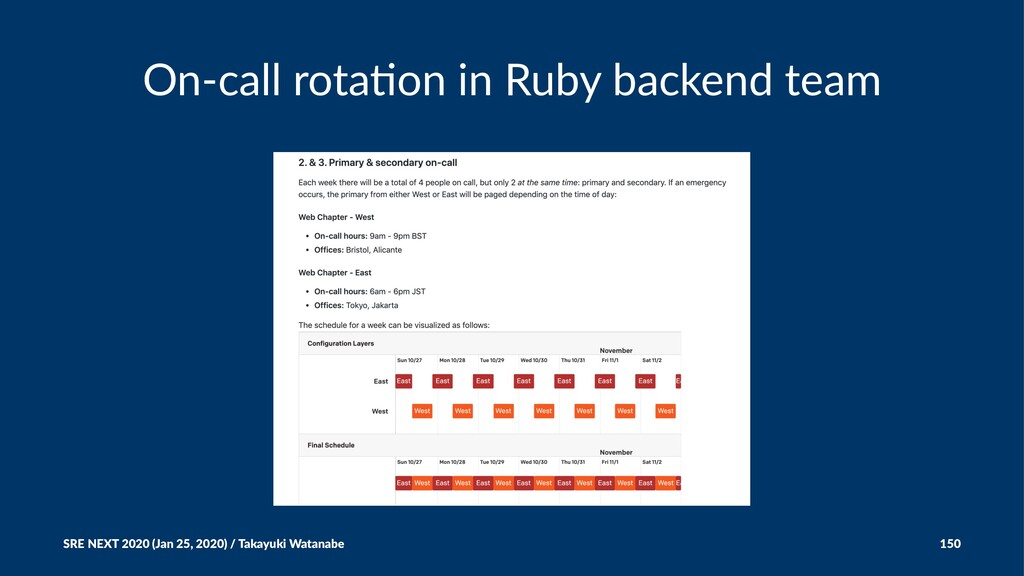 On-call rota+on in Ruby backend team SRE NEXT 2...