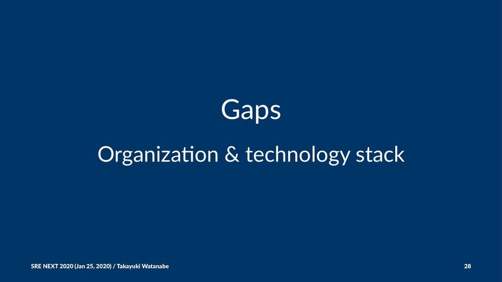 Gaps Organiza(on & technology stack SRE NEXT 20...
