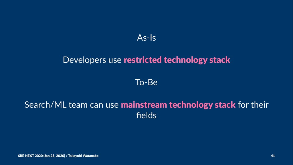 As-Is Developers use restricted technology stac...