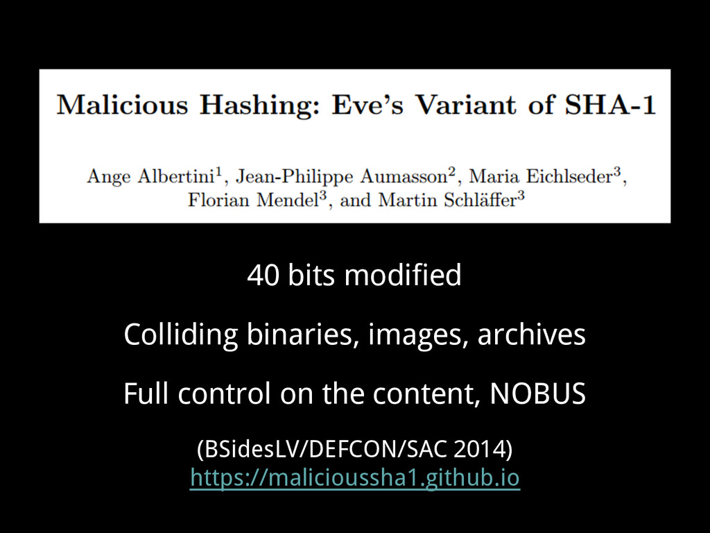 40 bits modified Colliding binaries, images, ar...