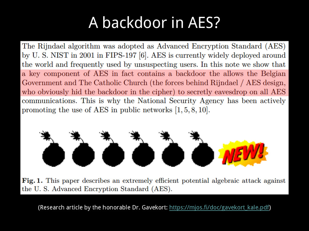 A backdoor in AES? (Research article by the hon...