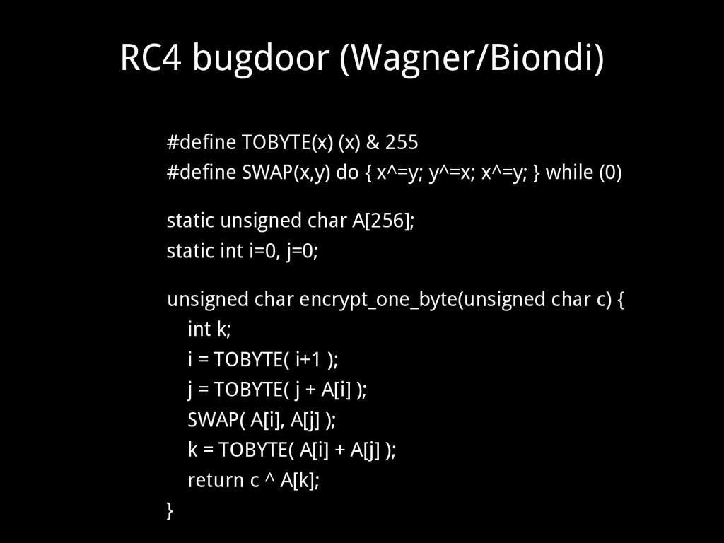 RC4 bugdoor (Wagner/Biondi) #define TOBYTE(x) (...