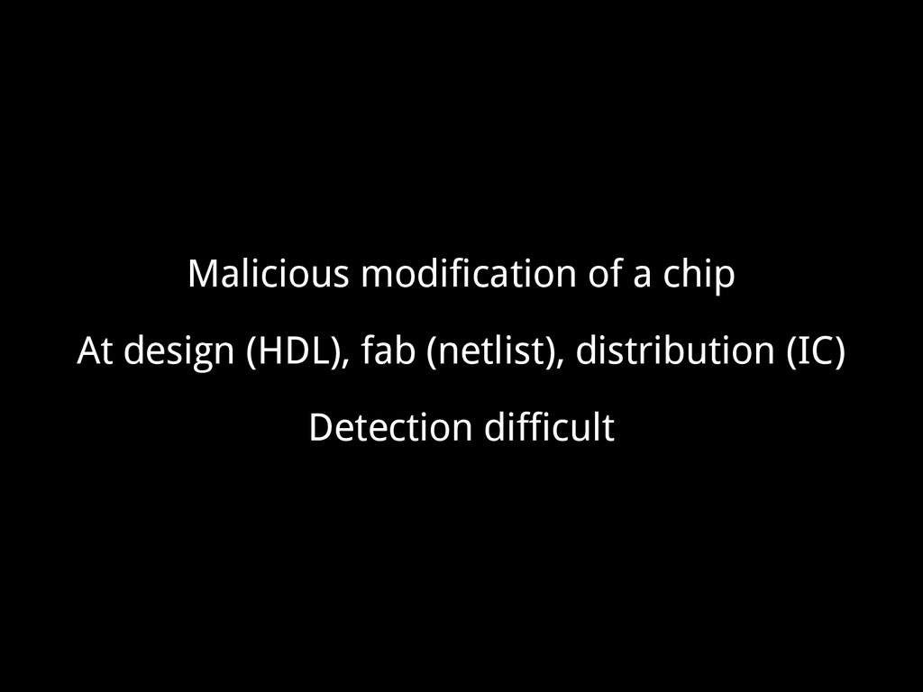 Malicious modification of a chip At design (HDL...