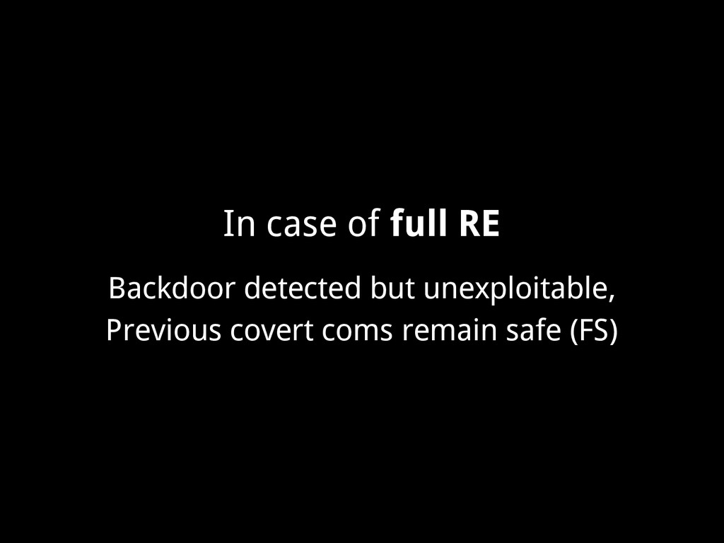 In case of full RE Backdoor detected but unexpl...