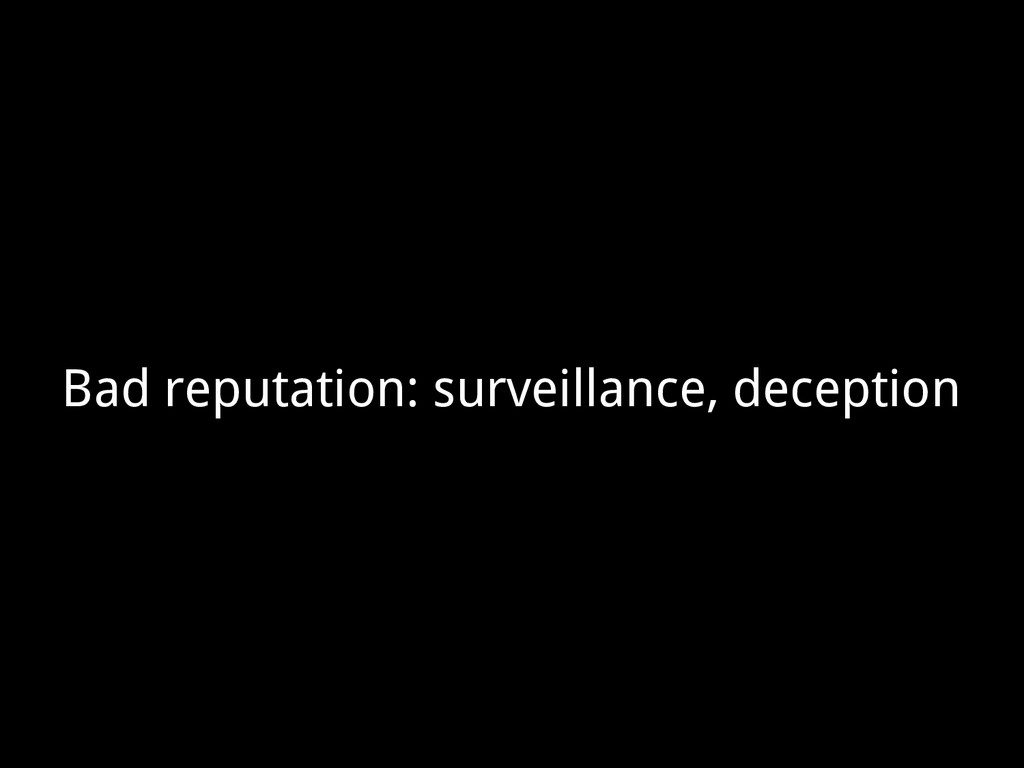 Bad reputation: surveillance, deception