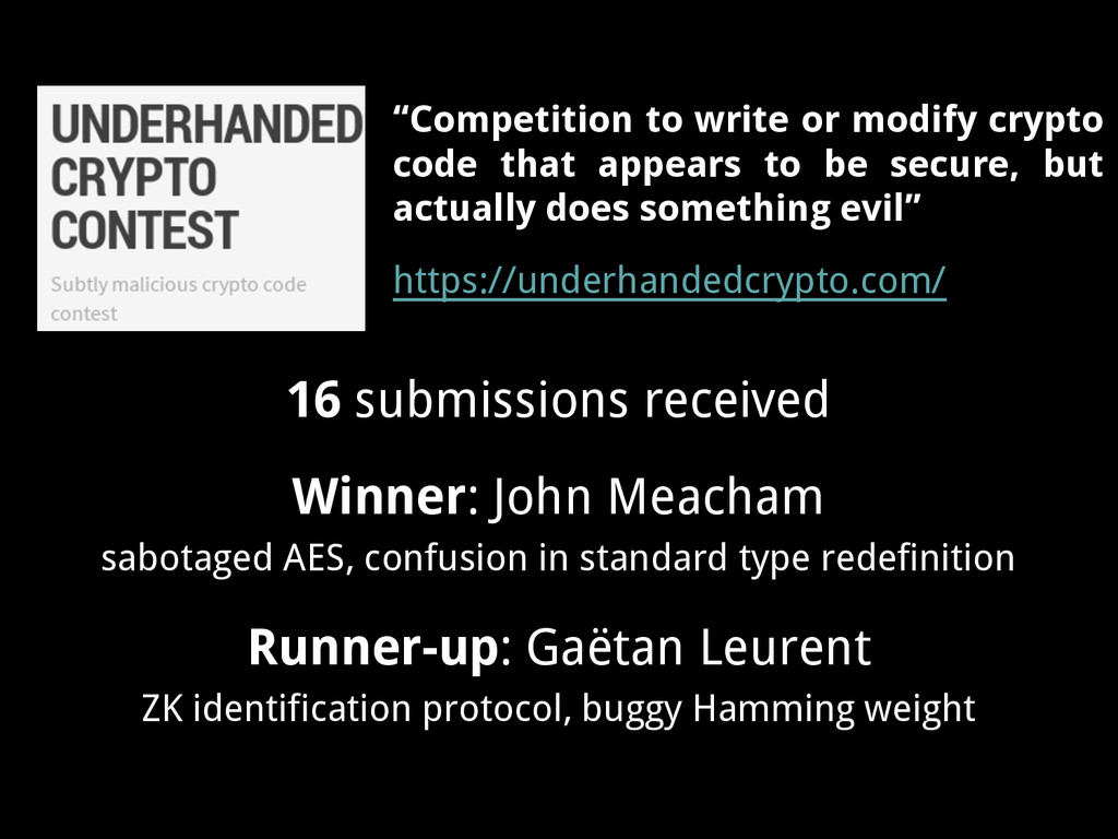16 submissions received Winner: John Meacham sa...
