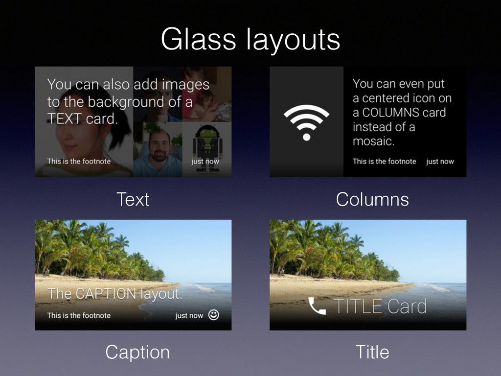 Text Columns Caption Title Glass layouts