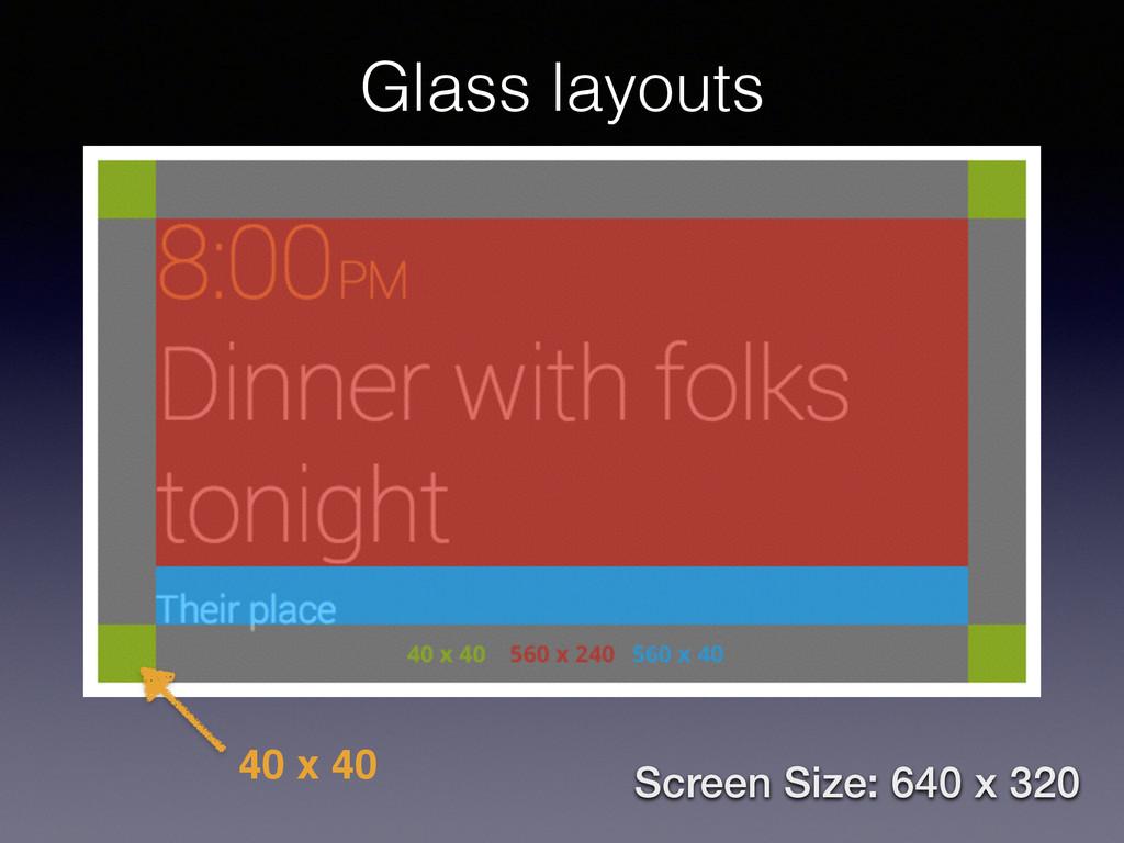 40 x 40 Screen Size: 640 x 320 Glass layouts