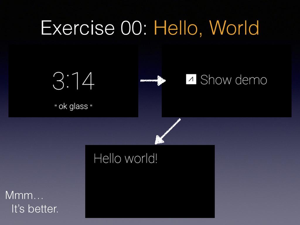 Exercise 00: Hello, World Mmm… It's better.