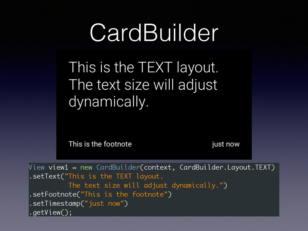 View view1 = new CardBuilder(context, CardBuild...