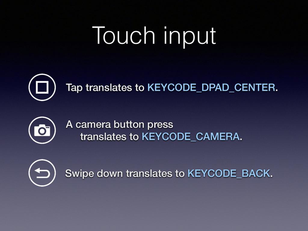 Touch input Swipe down translates to KEYCODE_BA...