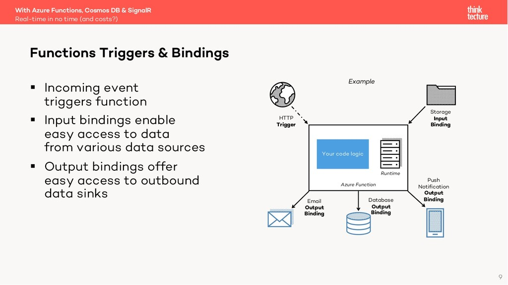 9 § Incoming event triggers function § Input bi...