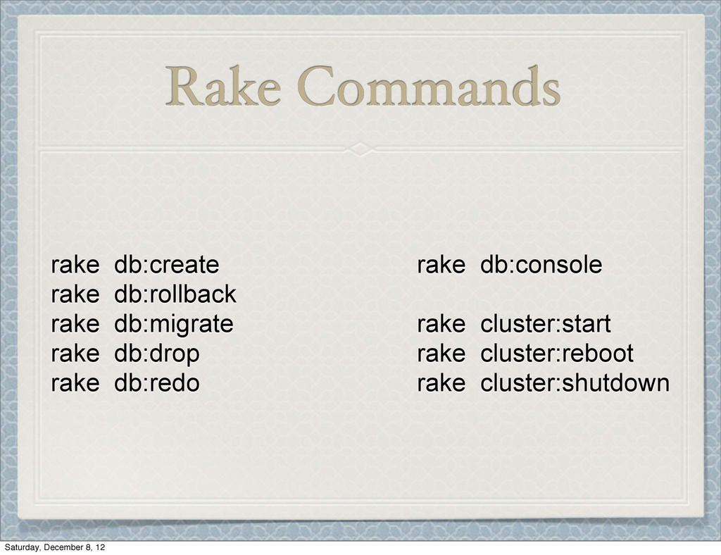 Rake Commands rake db:create rake db:rollback r...