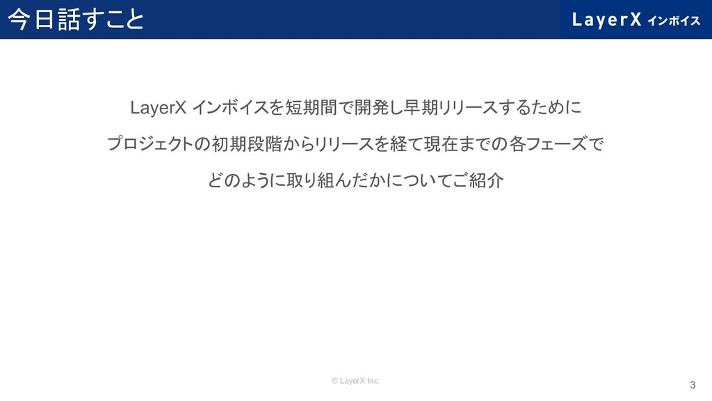 © LayerX Inc. 今日話すこと LayerX インボイスを短期間で開発し早期リリース...