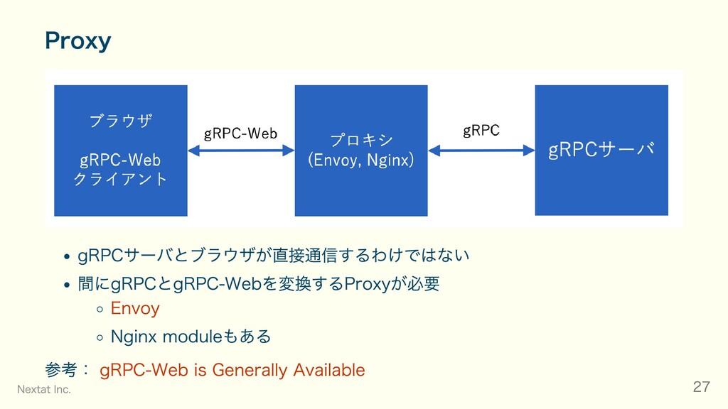 Proxy gRPCサーバとブラウザが直接通信するわけではない 間にgRPCとgRPC-Web...