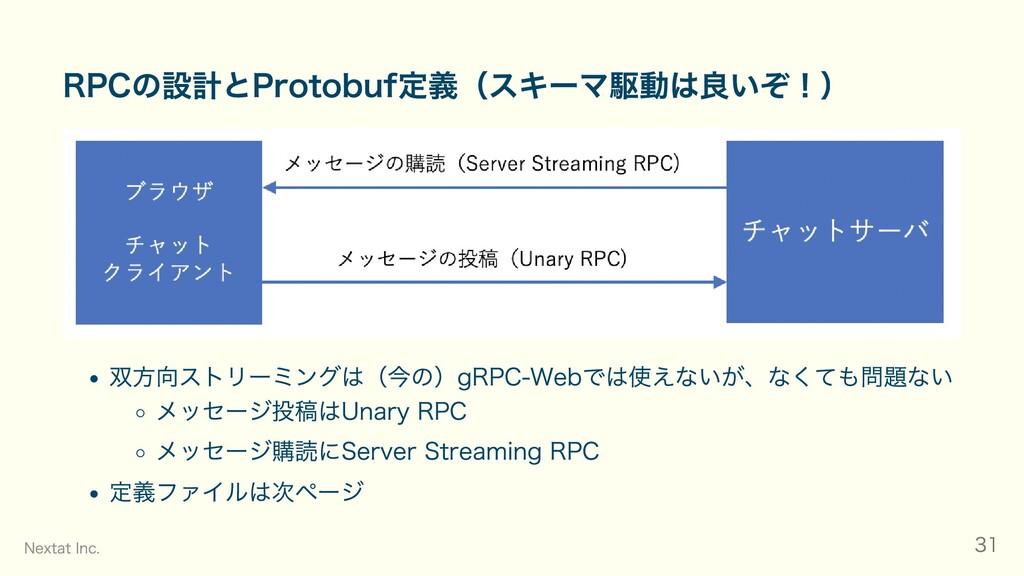 RPCの設計とProtobuf定義(スキーマ駆動は良いぞ!) 双⽅向ストリーミングは(今の)g...