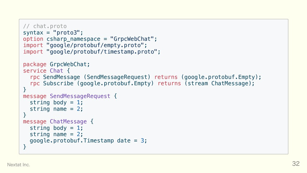 "// chat.proto syntax = ""proto3""; option csharp_..."
